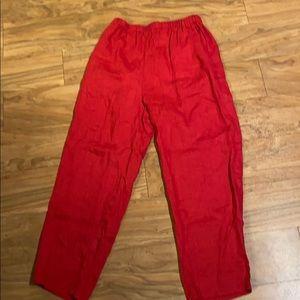 Flax Baggy Wide Leg Linen Red Pants Pockets M